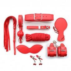 Black/Red Leather SM Bondage Kit 8 Pcs/Set